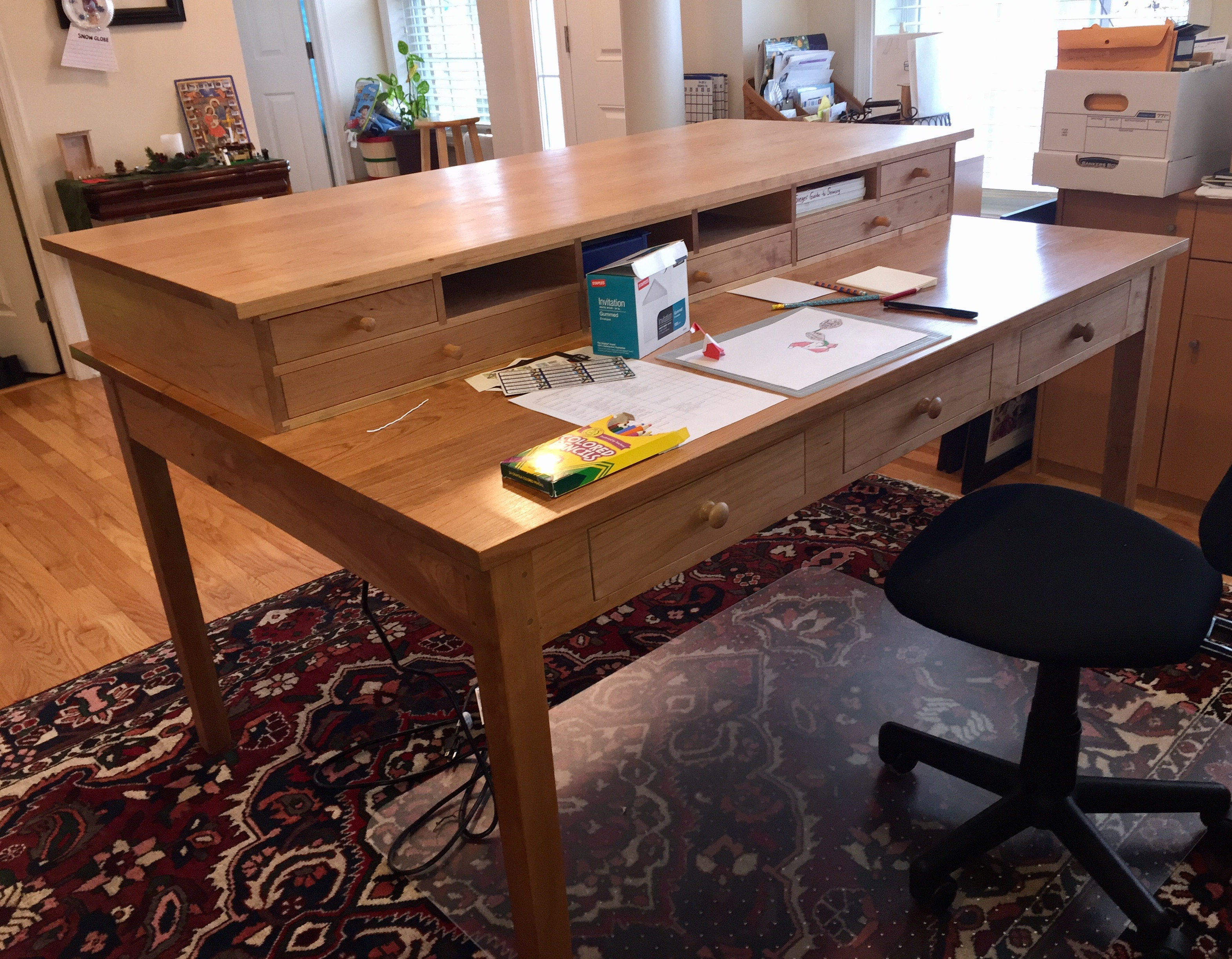 Large Two Tier Craft Table Constructed Of Solid Cherry Which Multiple Dove Tailed Drawers Front And Back Numerous Storage Cubbies